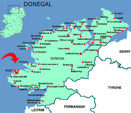 The Port peninsula is the most westerly part of Donegal, with the wild Atlantic on three sides